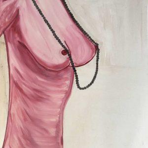 Die Frau mit der Perlenkette. Acrylic and watercolor on canvas. 2018. 60×80 cm