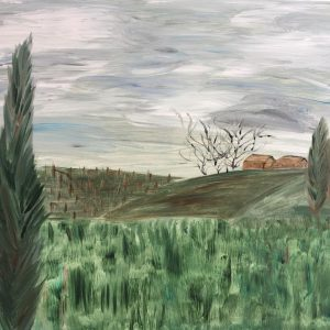 Tuscany in winter. Watercolours on canvas. 2021. 70x100 cm
